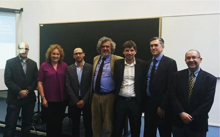 PhD oral defense. From the left to the right: Dr. Javier Bajo, Dr. Rosa M. Carro, Dr. Javier Gomez, Dr. Xavier Alamán, Dr. Germán Montoro, Dr. Juan C. Augusto and Dr. Ramón López-Cózar.