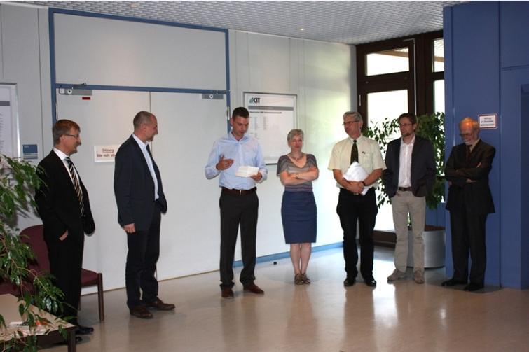 Defense ceremony, with f.l.t.r.: Michael Beigl, Rainer Stiefelhagen, Joris IJsselmuiden, Dorothea Wagner, Jürgen Beyerer, Oliver Hummel, and Peter H. Schmitt.