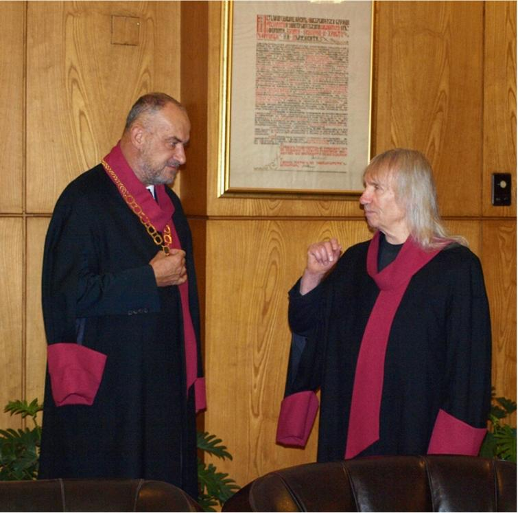 """S. Barry Cooper is awarded an honorary doctorate at Sofia University """"St. Kliment Ohridski"""" in Sofia, 2011 (with Ivan Soskov, 1954–2013)."""