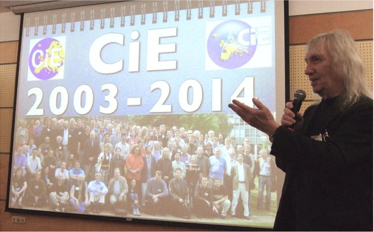 S. Barry Cooper at the opening of CiE 2014 in Budapest. Photo taken by Peter van Emde Boas, June 2014.