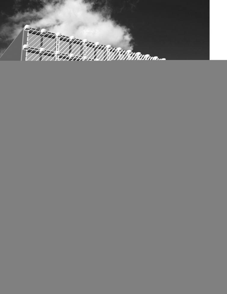 Facade with diagonally arranged louvers.