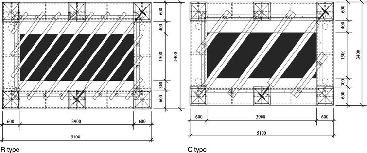 Mock-up elevations (unit; mm).