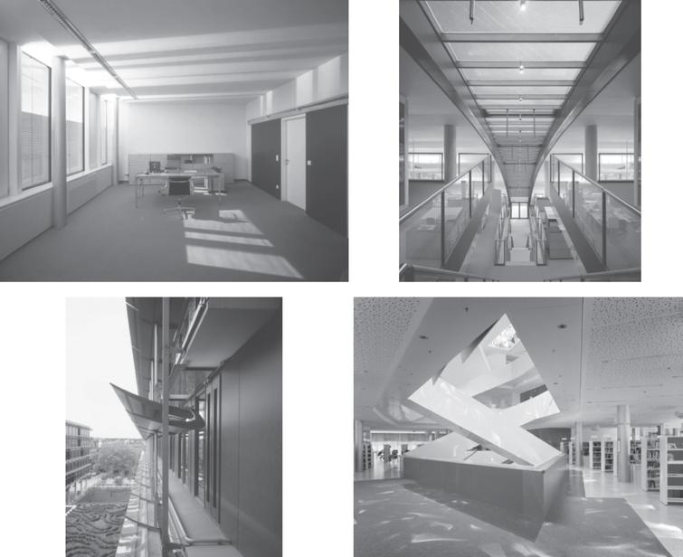 Examples of DRCs and DRC installations. Top left: Interior daylight distribution generated from a functional DRC made of curved specular lamellae integrated into a double glazed window. Top right: Skylight sections of a larger office building with DRCs combining sunlight retroreflection and daylight redirection. Bottom left: Exterior DRC installation with movable louvers. Bottom right: Custom DRC installation for staircase lighting, adding aesthetic dimensions to the pure lighting functionality. Sky and sunlight is redirected through a rectangular short light pipe with facetted mirrors, to produce lighting patterns varying in appearance over the course of a day. Photograph top right: Copyright Osram, Traunreut (Germany), photographs top left and bottom row: Copyright Bartenbach, Aldrans (Austria).