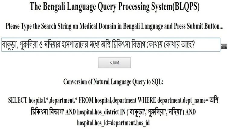 A novel Bengali Language Query Processing System (BLQPS) in
