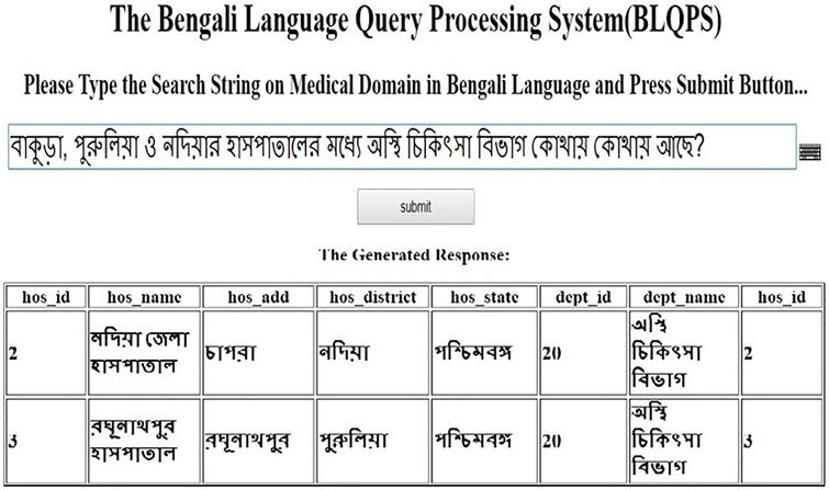 A novel Bengali Language Query Processing System (BLQPS) in medical