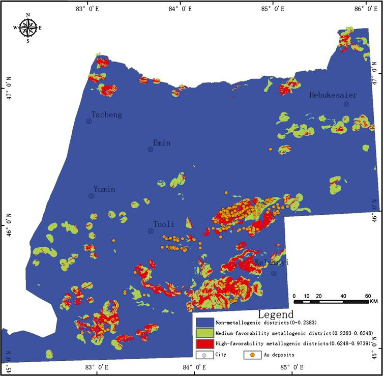 Mineral prospectivity mapping with weights of evidence and fuzzy