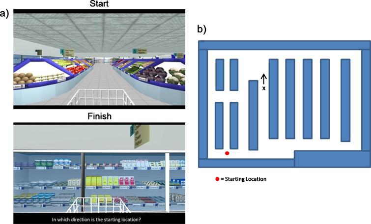 Example of egocentric and allocentric components of the virtual supermarket task. a) Participants view videos travelling to a new location within the supermarket and asked for heading direction to starting location. b) Participants are presented with a spatial map and asked to mark current location and heading direction.