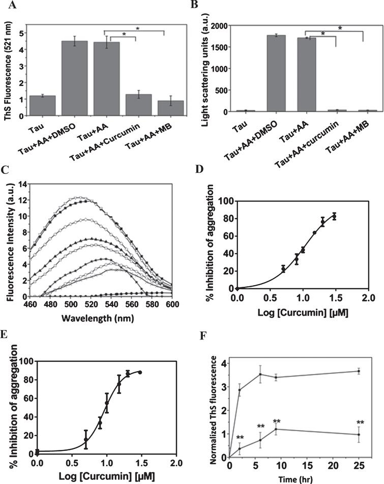 Curcumin Inhibits Tau Aggregation and Disintegrates