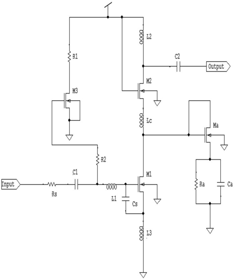Low noise amplifier with resistive and capacitive feedback