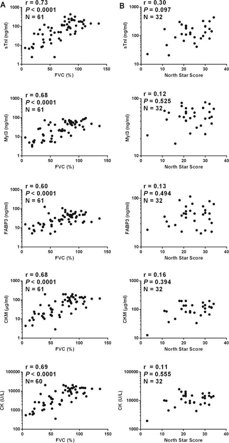 Correlations of protein serum concentration and clinical measures in DMD patients. A graph of (A) FVC measurement and (B) NSAA score versus the serum concentrations of sTnI, Myl3, FABP3, CKM and total serum CK for each DMD patient. The Spearman's rank-order correlation coefficient (r), P value (P) and number of patients in the sample set (N) is shown for each analysis.