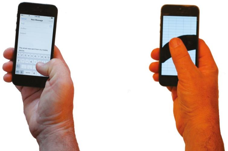 When icons and buttons are located near the base of the thumb the thumb takes on a non-neutral posture (left photo) whereas when icons and buttons are placed along an arc as noted by the black area in the figure on the right the thumb posture takes on a more neutral posture. The phone on the right is displaying an image of the optimal area for thumb reach as described by Otten et al. [46]
