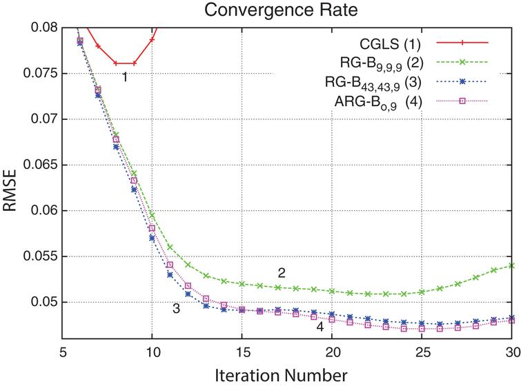 Convergence rate shown for four methods (see Fig. 4). Notably, the CGLS method diverges quickly after 7 iterations while the regularized methods reach semi-convergence point (approximately on the 25th iteration) and then diverge (both RG-B43, 43, 9 and ARG-Bo,9 methods diverge much slower than the RG-B9, 9, 9 method).