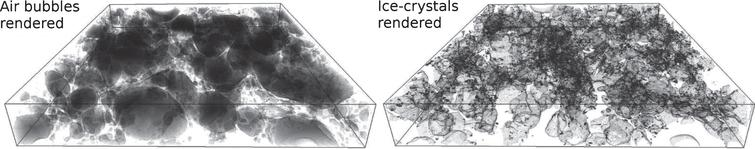 Rendered sub-volumes after segmentation for air bubbles (left) and ice-crystals (right).