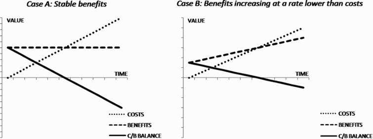 Cost–benefit balance as a function of time.