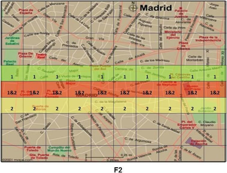 Example of the kinds of maps seen by participants in Harris and Hahn's (2009) study. Shaded areas labelled '1' indicate areas identified by the first of the two witnesses as a putative location of the missing body. Areas labelled '2' are parts of the city identified as a possible location only by the second witness. Areas labelled '1&2' represent regions of overlap between the two testimonies.