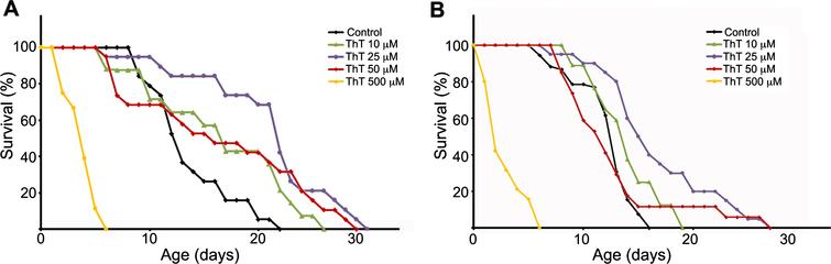 Thioflavin T (ThT) extends lifespan of a C. elegans model of tauopathy. Dose–response Kaplan–Meier survival curve of synchronized populations of wild-type (N2) worms (A) or mutant aex-3/T337 worms (B), exposed to 0 μM (control) to 500 μM ThT at 20°C. These data correspond to one representative experiment out of three independent assays (n=20 worms per experiment and dose).