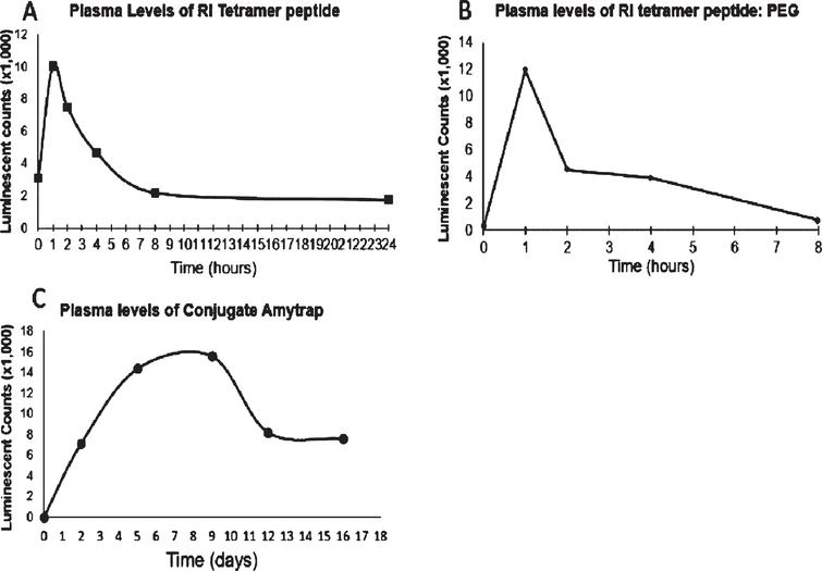 Mouse PK analysis. Balb/C mice received a single injection of (A) RI tetramer, (B) Pegylated RI-peptide, and (C) Amytrap Conjugate at 200 μg. Plasma levels of (A) RI tetramer peptide and (B) Pegylated RI-peptide at specified time points (0, 1, 2, 4, 8, and 24h) after injection of the compound were analyzed. C) Amytrap conjugate was injected and plasma levels at 0, 2, 5, 9, 12, and 16 days were analyzed. Values are expressed as luminescent counts (x1000).