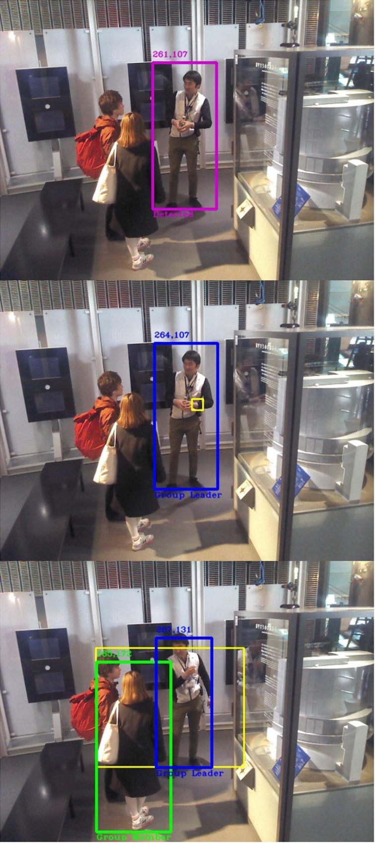 Training1 video exemplifying a Hard case. Top: Frame 1, the people detector outputs only one human detection. Middle: Frame 6, leader is categorized with no group members around despite the existence of more humans on the scene. Bottom: Frame 97, one of the group members is detected at last and is automatically categorized by the algorithm.