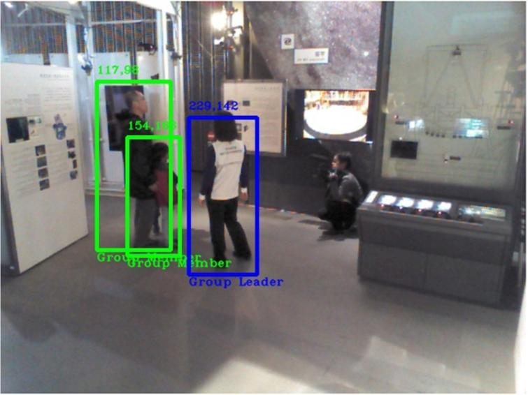 Video 2 with 98% of accuracy. Science communicator is displayed as the group leader in a blue bounding box, while museum visitors have been recognized in green-colored boxes as members of this group. Pixel coordinates on the upper-left corner of each box.