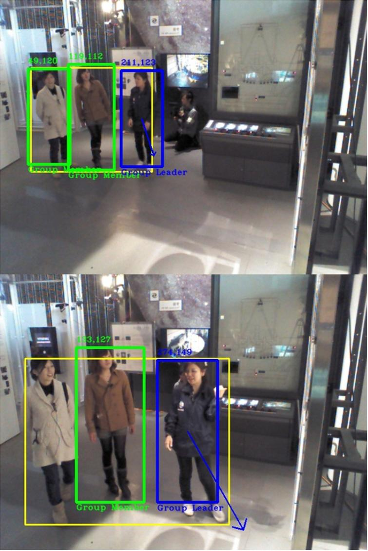 Video 5 with 98% of accuracy. Top: Sample frame 5. Ablue arrow with the leader's torso as origin estimates her direction. Bottom: Sample frame 15. Leader's direction arrow indicates the direction of movement and also displays its proportional magnitude.