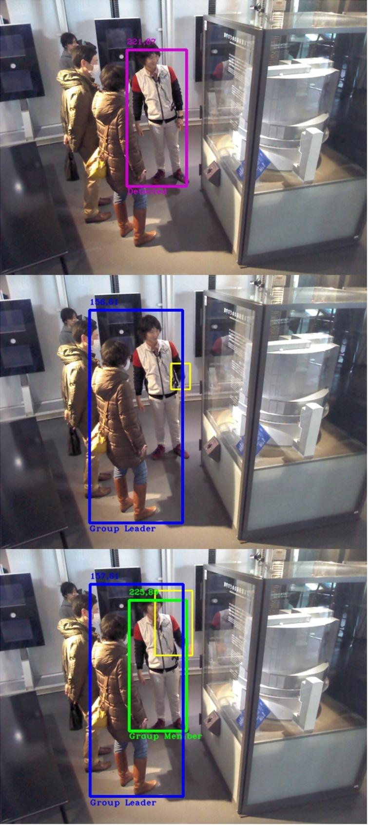 Video 1 with 36% of accuracy. Top: Frame 1, science communicator has been detected, no role assigned yet. Middle: Frame 4, science communicator gestures and motion box overlaps with the only detection obtained, selecting a museum visitor as the group leader. Bottom: Frame 6, science communicator is detected after the leader role has been given, appointing him as a group member.