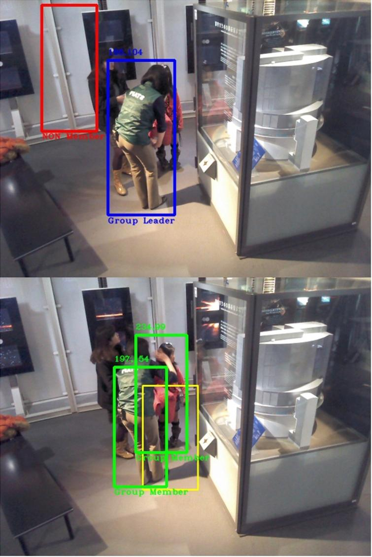 Video 6 with 70% of accuracy. Top: Science communicator is being tracked as the leader. False positive object detection is classified as non-group member until the algorithm is able to eliminate it. Bottom: Leader tracking is lost in some point around frame 35. Yet, the algorithm still considers the leader as part of the group.