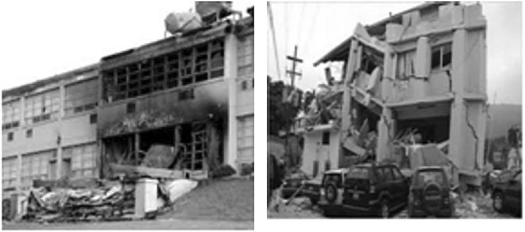 Damages caused to buildings.