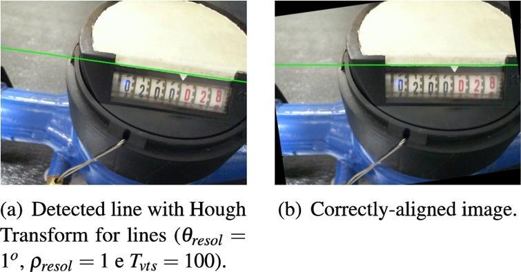 Frame angle correction through hough transform.