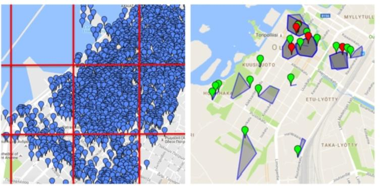 """Visualisation of an urban area division by the RG (left) and SG (right) algorithms. The blue markers (left) show the location of venues retrieved from Foursquare. Markers on the right show the location of """"reference"""" points for SG with green/red colouring to show venues that were successfully/unsuccessfully predicted."""