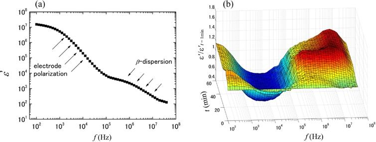 A typical dielectric spectrum (dielectric dispersion curve) of whole blood from a healthy volunteer before the blood coagulation process proceeds (a), and the change in normalized dielectric spectra during the progression of blood coagulation(b). The normalization was done with the dielectric dispersion curve at the first time point.