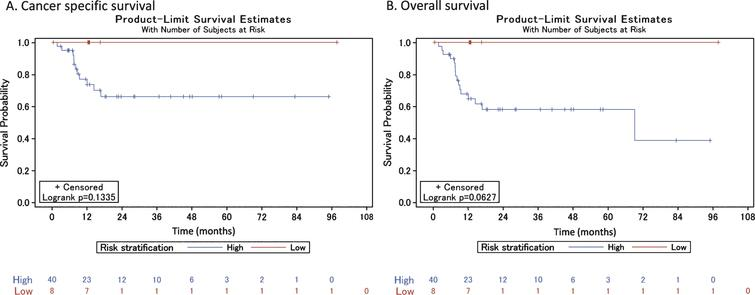 Cancer-specific and overall survival among high- and low-risk patients who did not receive neoadjuvant chemotherapy.