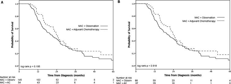 Overall survival after NAC and RC with (A) ≤2 positive lymph nodes and (B) >2 positive lymph nodes.