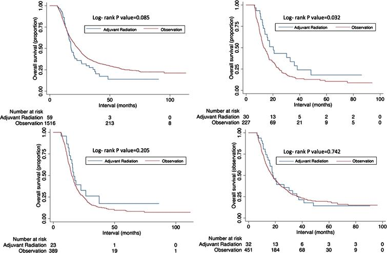 Kaplan-Meier overall survival curves comparing those receiving chemoradiation versus observation for all patients (A); among surgical margin positive patients (B); among pN2- 3 patients (C); among pT4 patients (D).