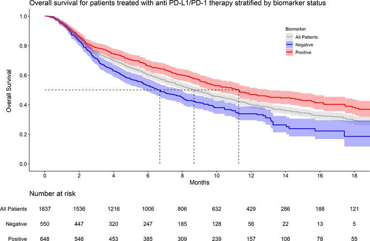 KM graph of overall survival for patients treated with anti PD-L1/PD-1 therapy stratified by biomarker status.