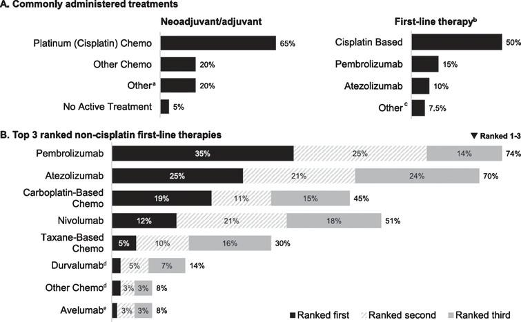 Reported treatment patterns (n = 301). (A) Commonly administered treatments (median percentage of patients receiving treatment in indicated setting). (B). Top 3 ranked non-cisplatin first-line therapies (percentage of respondents). Chemo, chemotherapy. aCancer immunotherapy/immunotherapy (n = 9) and Bacillus Calmette-Guérin, carboplatin, clinical trial, radiotherapy, sparing (n = 1 each). bNivolumab and other chemo (less than 1% each) not plotted. cAvelumab and clinical trial (n = 1 each). dRanked first by 2%. eRanked first by 1%.