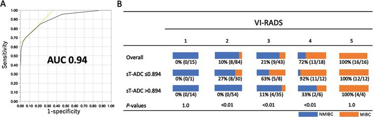 Incorporation of standardized tumor ADC (sT-ADC) values into the Vesical Imaging-Reporting And Data System (VI-RADS) to detect muscle invasion. (A) The ROC curve of VI-RADS/ADC. (B) Distribution of muscle-invasive disease (MIBC) according to sT-ADC for each VI-RADS score.