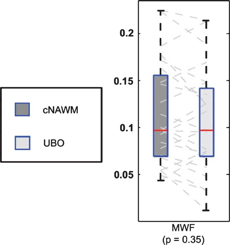 "Boxplot representation (box containing median and 25th and 75th percentiles) of MWF. The left side of each panel (dark box) corresponds with values in contralaterial normal appearing white matter, the right side (light box) with values in contralateral unidentified bright objects (from Fig. 3, Billiet T, Madler B, D'Arco F, Peeters R, Deprez S, Plasschaert E, et al. Characterizing the microstructural basis of ""unidentified bright objects"" in neurofibromatosis type 1: A combined in vivo multicomponent T2 relaxation and multi-shell diffusion MRI analysis. Neuroimage Clin. 2014;4:649-58)."