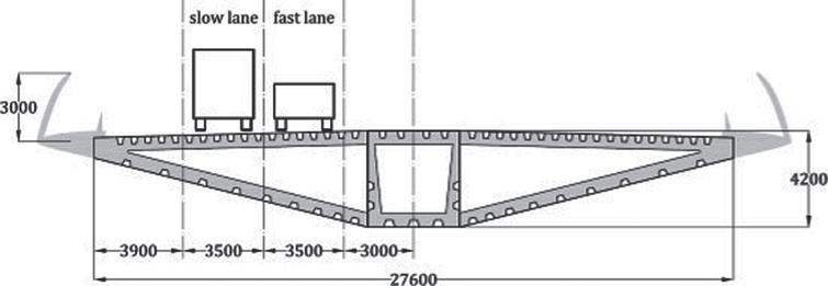 Cross section of the deck and traffic lanes.