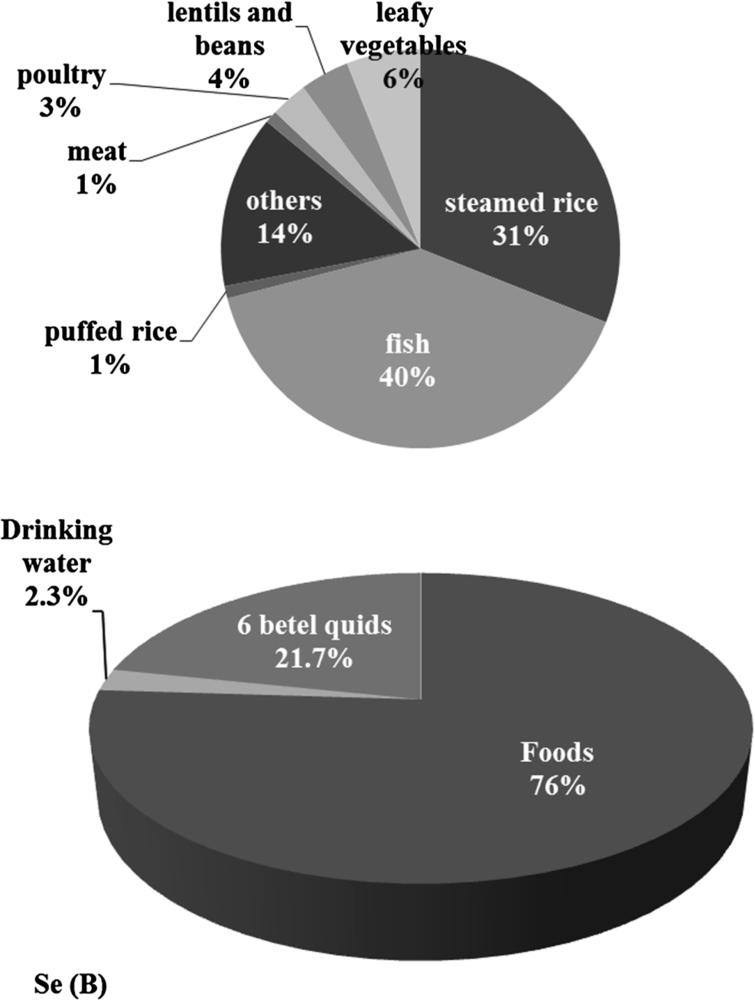 Daily intake of Se in Bangladeshi foods including betel quids. (A) Daily Se intake (%) through different Bangladeshi foodstuffs (100% = 87.7 µg Se per day), (B) Total Daily Se intake (%) for all Bangladeshi foods and non-foods, considered in the current study, including water (100% = 115.4 µg Se per day). Six betel quids were included based on the questionnaire findings regarding daily consumption by Bangladeshis [8].