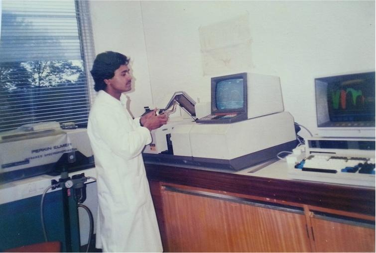 Author of this article recording FTIR spectra of H2O at the Royal Free Hospital School of Medicine, University of London. Spectra of H2O and 2H2O can be seen displayed on a computer attached to the FTIR spectrometer (photograph taken in 1987).