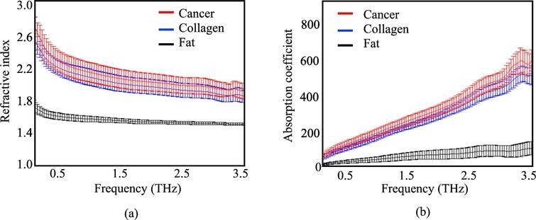 The mean spectroscopy data for all fresh human cancer and healthy breast tissues. (a)The transmission refractive indices for cancer, collagen, and fat. (b)The transmission absorption coefficient for cancer, collagen, and fat. The transmission spectroscopic data in (a) and (b) is average over 10 individual points from each tissue type [4].