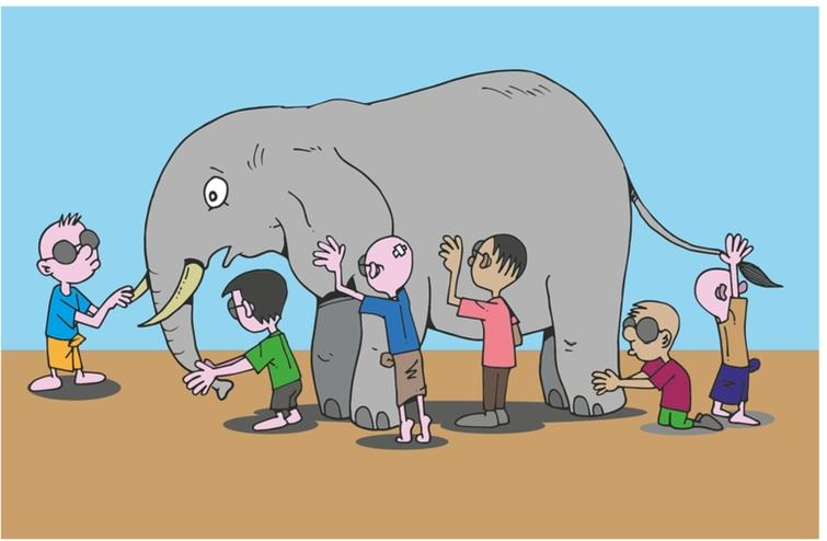 Five blind men examining an elephant and each providing a different interpretation, based on which part of the animal he touched. This is the problem in much of current scientific research where traditional barriers prevent interaction between different disciplines and techniques leading to an incomplete and partial picture of the system or problem.