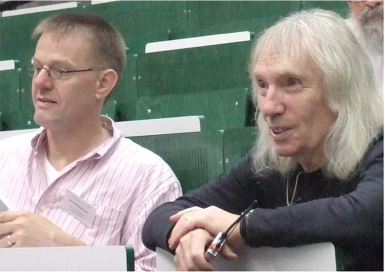 Arnold Beckmann and S. Barry Cooper at the opening of CiE 2009 in Heidelberg. Photo taken by Peter van Emde Boas, July 2009.