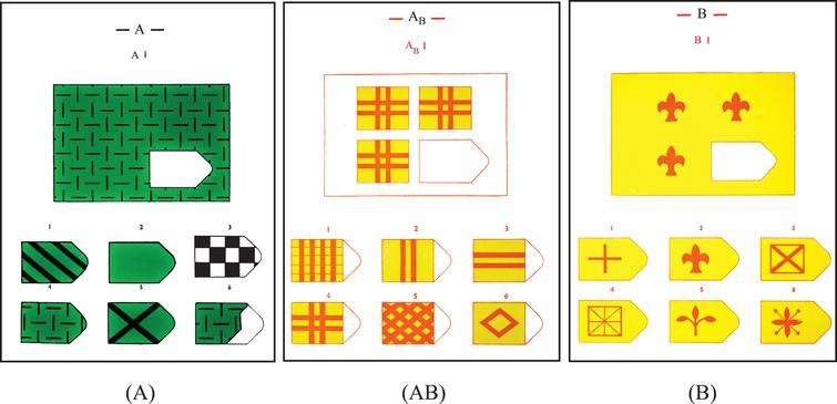 Examples of Task Sheets. A: Identification of a patch in a continuous pattern (correct item is on lower row furthest to the left). AB: Identification of a patch of a discrete pattern (correct item is lower row furthest to the left). B: Identification of a patch in a continuous pattern with discrete items (correct item is upper row in the middle).