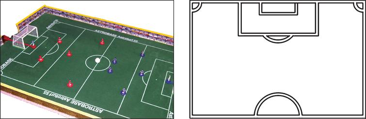 Left: Subbuteo game, Right: Drawing Sheet. The Subbuteo game was used to explain the offside rule to 7- and 9-year-old children. Children were drawing the offside position with pin men as often as required until they could create a correct depiction of the offside position. Achieving a correct drawing of the offside position was the criterion to be admitted to the offside rule computer task.