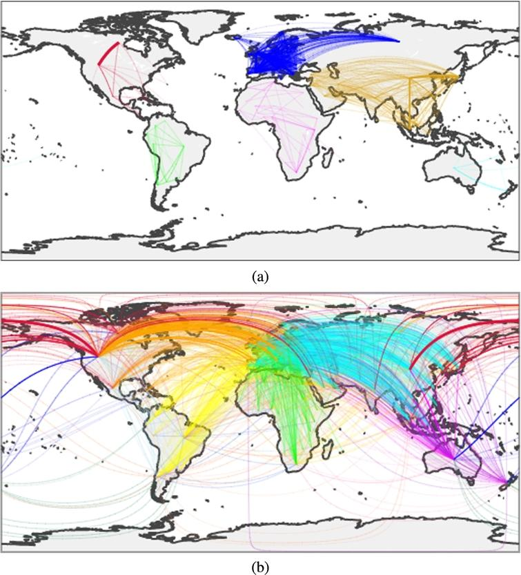 Intracontinental (a) and intercontinental (b) collaborations among countries. Edges represent a collaboration among two countries within a paper; the width of the edge represents the intensity of the collaboration, while the colour encodes the couple of continents involved. As the images are information rich, we suggest exploring them on the online notebook.