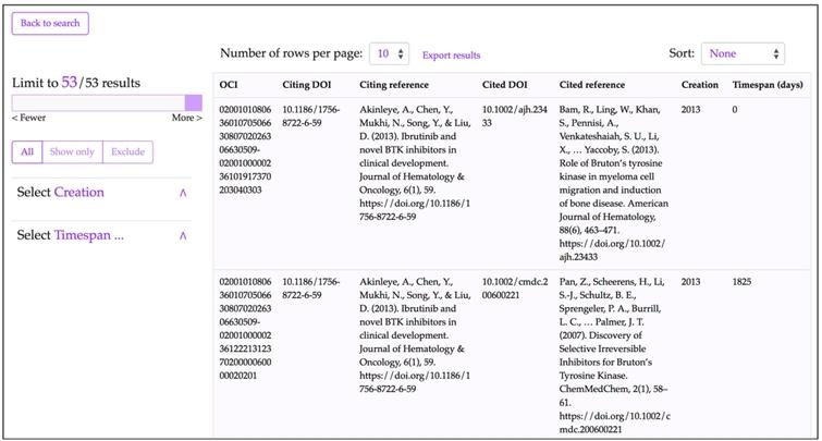 The results interface for COCI in the OpenCitations OSCAR website after using its advanced search option and executing a query to look for all the resources (citation entities) having the value '10.1186/1756-8722-6-59' as citing DOI – http://opencitations.net/index/coci/search?text=10.1186%2F1756-8722-6-59&rule=citingdoi.