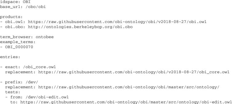 Exerpt from the YAML configuration file for OBI, showing all required PURL configuration information