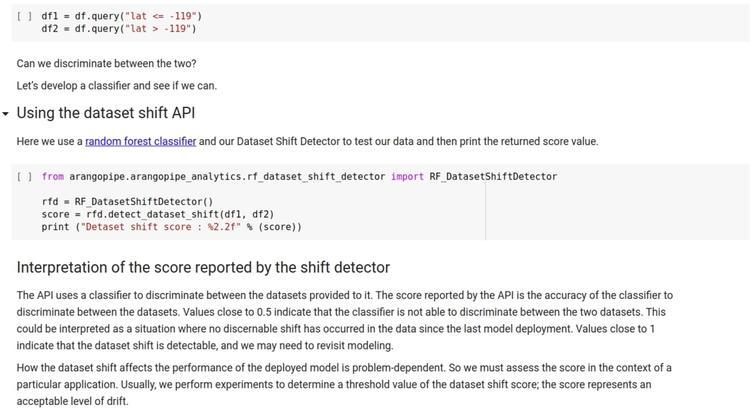 Dataset shift detection with Arangopipe.
