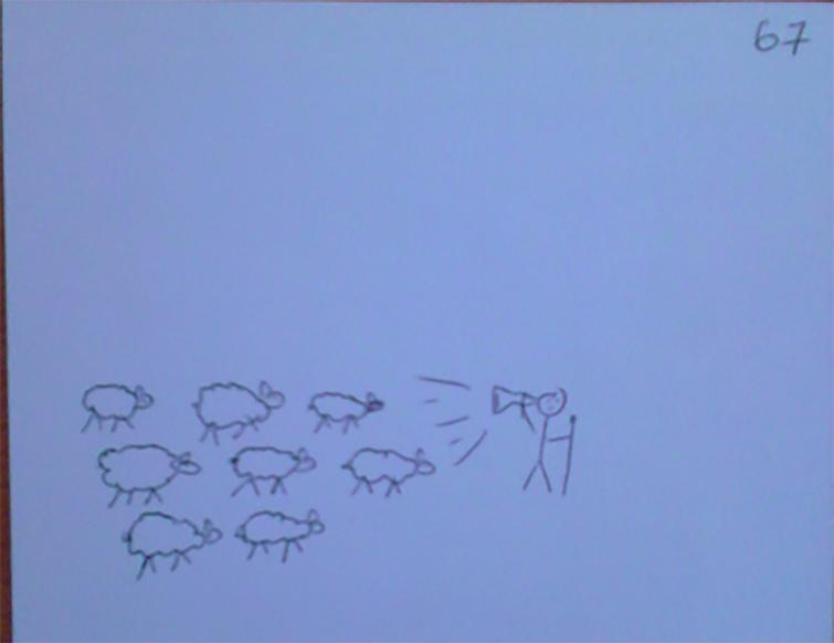 "cSquare 67 depicting ""sheperd-flock"" or opinion leader phenomenon."